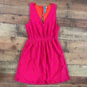 Francesca's Pink & Orange Lace Open Back Dress